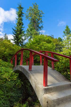 foot bridge: Red wooden Japanese foot bridge add theme to garden