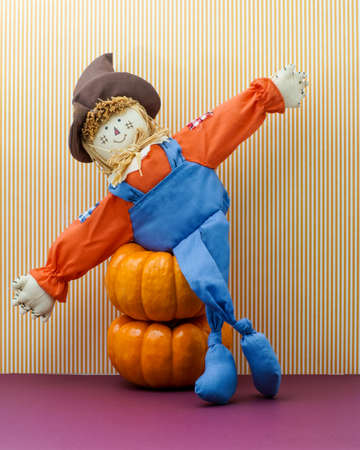 Happy and welcoming scarecrow poses with arms stretched wide