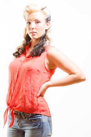 rockabilly: Young Adult Female In Rockabilly Fashion Stock Photo