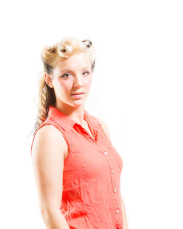 platinum hair: Young Adult Female In Rockabilly Fashion Stock Photo