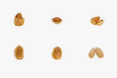 unsaturated fat: Cracked almond shells with and without an almond Stock Photo