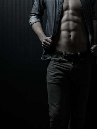 bodyscape: Male Chest And Mid-Section Physique Stock Photo