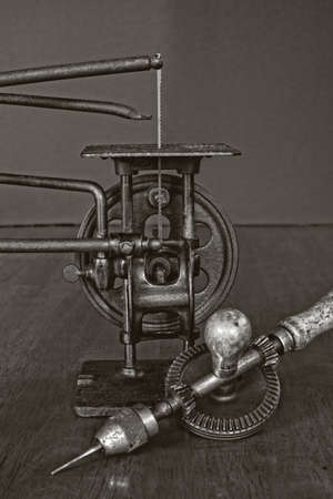 hand drill: Vintage American Made Woodworking Scroll Saw And Hand Drill