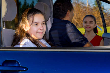 errands: Attentive Father Sends Daughter Off To Cheerleader Practice
