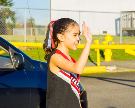 spunky: Aspiring Young Cheerleader Goes To Practice