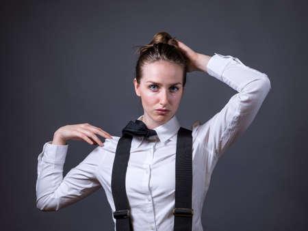 masculinity: Slender caucasian female editorial style portrait of masculinity