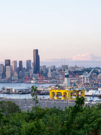 SEATTLE WASHINGTON USA  MAY 14: Polar Pioneer oil drilling rig arrives in Seattle and is docked at the Port of Seattles Terminal 5. The Polar Pioneer is expected to drill for oil in the Arctic raising protests from environmentalists. Editorial