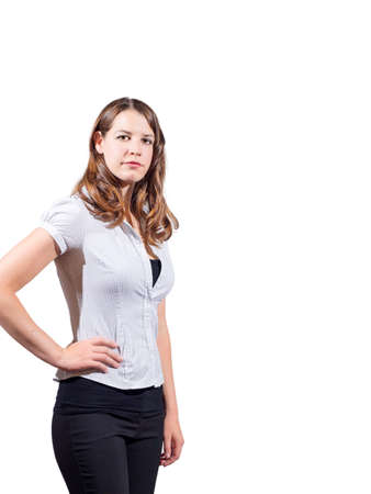 medium length hair: Young confident American female on isolated white background Stock Photo