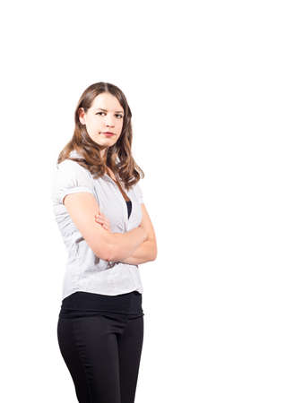 proportionate: Young confident American female on isolated white background Stock Photo