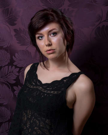 proportionate: Portrait of bautiful young American caucasian female Stock Photo