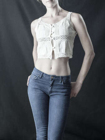women's issues: Young caucasian female slender and curvy body