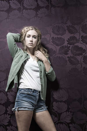 coed: Young fashionable American blonde female Stock Photo