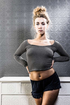 body image: Fit and thick young woman with positive body image Stock Photo