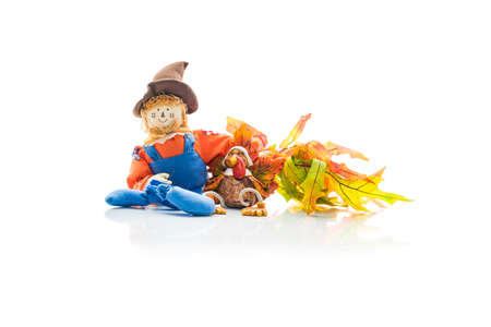 autumn scarecrow: Holiday scarecrow and turkey friends sitting together