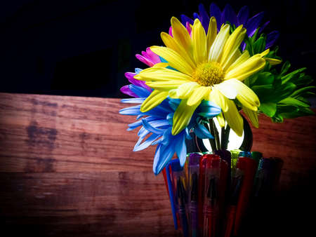 colored dye: Jar Filled With Dye Colored Cut Daisies Stock Photo