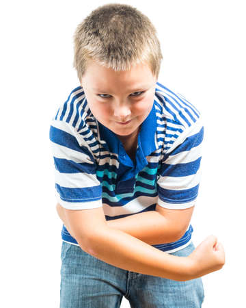 kidding: Preteen Boy Flexing His Muscles