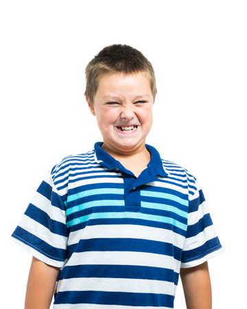 gritting: Young Hispanic-American Boy Gritting His Teeth