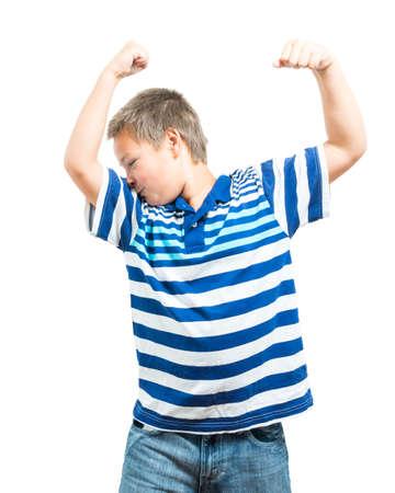 facial muscles: Preteen Boy Flexing His Muscles