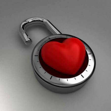 Unlocking your heart to love  A combination lock is unlocked with a velvet heart as its focus, indicating an openness to love. Stock Photo