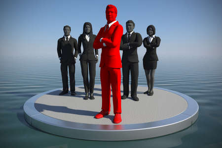 A successful team of executives led by a great leader on an ocean at noon. Banco de Imagens - 100771529