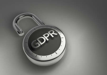 A combination lock with the EU GDPR General Data Protection Regulation of the European Union indicating data security. Stok Fotoğraf