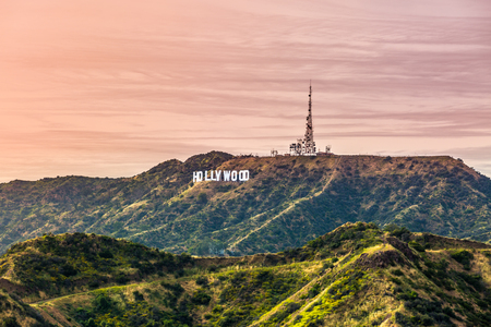 Hollywood Sign at Sunset Editorial