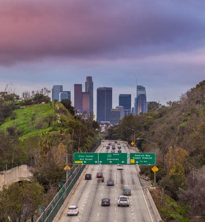 pershing: 110 Freeway and Downtown Los Angeles Editorial
