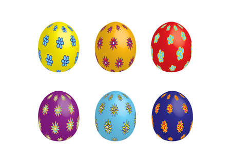 kunst: 6 colorful eastereggs isolated Illustration