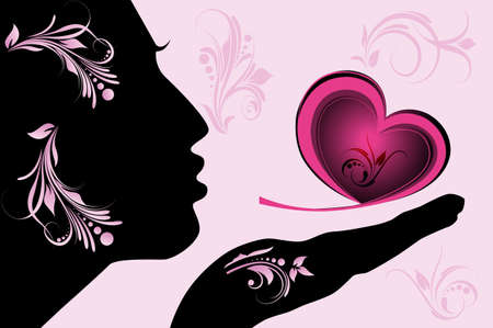 Female silhouette with pink heart Vector