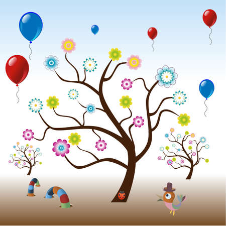 funny tree with flowers and balloons Illustration