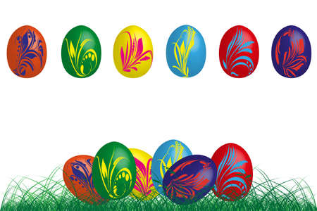 6 eastereggs  with flowers Illustration