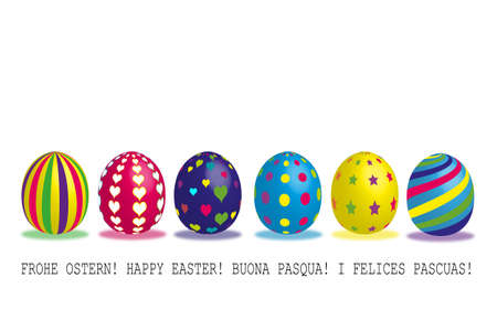 season greetings: 6 colored eastereggs Illustration