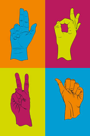 Collection of hand gestures Stock Vector - 12063272