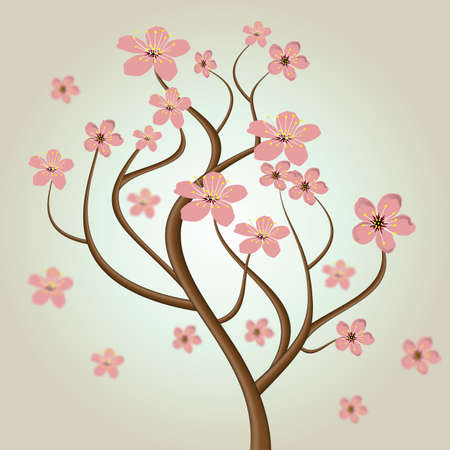 kunst: cherry blossom tree Illustration