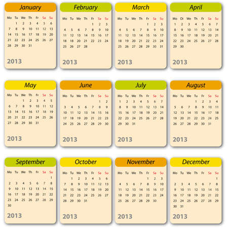 Calendar 2013, english, international Vector