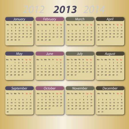 Calendar 2013, english Vector