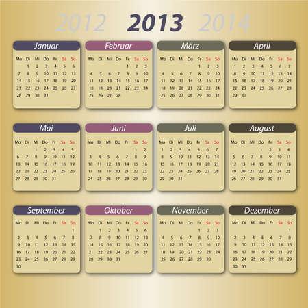 Kalender 2013, deutsch Stock Vector - 12203794
