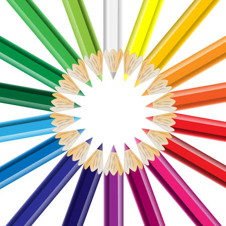 konzept: Buntstifte kreisförmig angeordnet Illustration