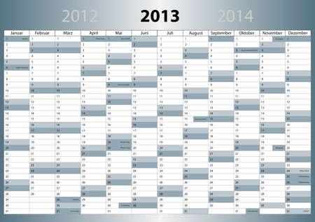 Kalender 2013, deutsch, DIN-Format, mit Feiertagen