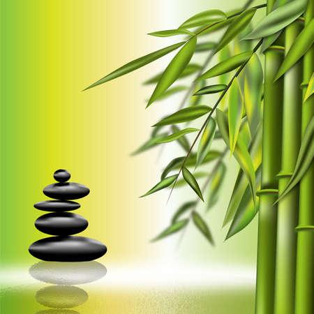 현무암 돌과 대나무