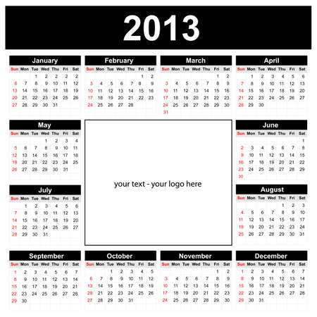 Calendar 2013 with space for your text or logo Vector