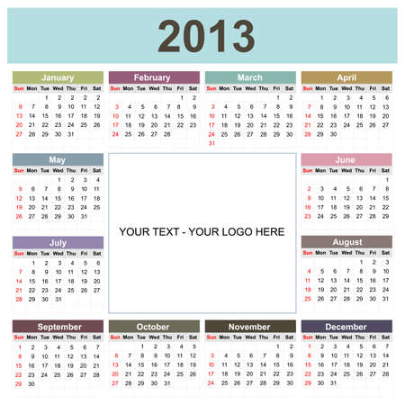 Calendar 2013 with space for your text or logo Stock Vector - 12797297