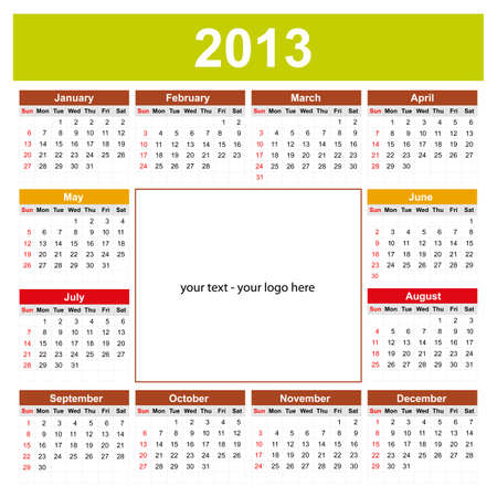 Calendar 2013 with space for your text or logo Ilustracja