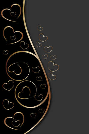 Golden background with hearts Stock Vector - 13388059
