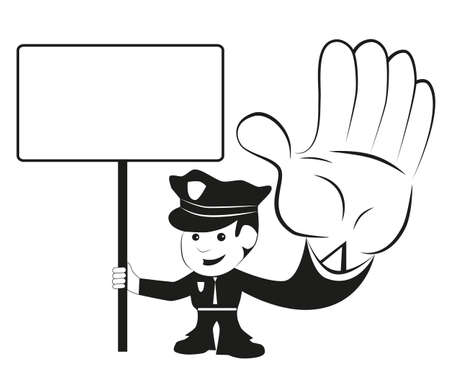Police officer with sign