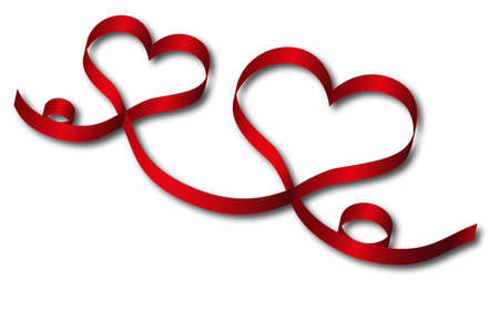 red hearts ribbon