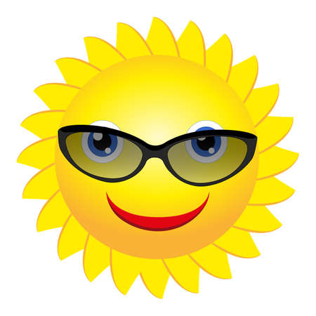 Smiling sun with sunglasses - vector Ilustracja