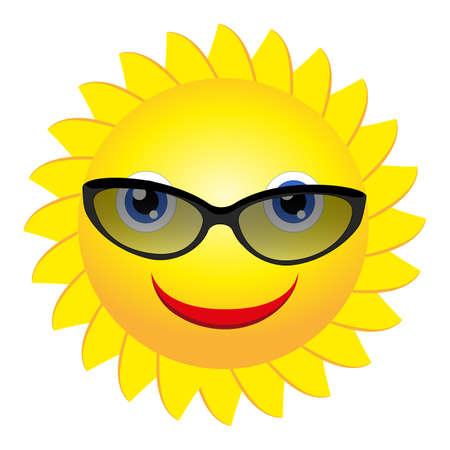 soleil souriant: Soleil souriant avec des lunettes de soleil - vecteur