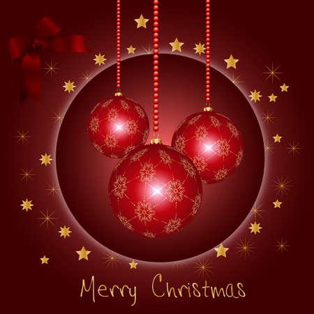 rotting: 3 Weihnachtsbaumkugeln mit goldenen Sternen