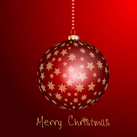 kugel: Weihnachtsbaumkugel mit goldenen Sternen